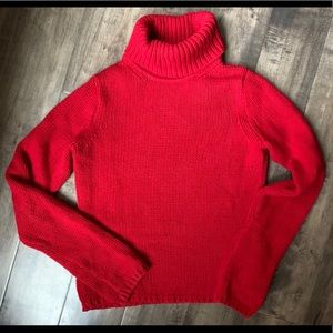 J Crew women's sweater small cotton cashmere Red